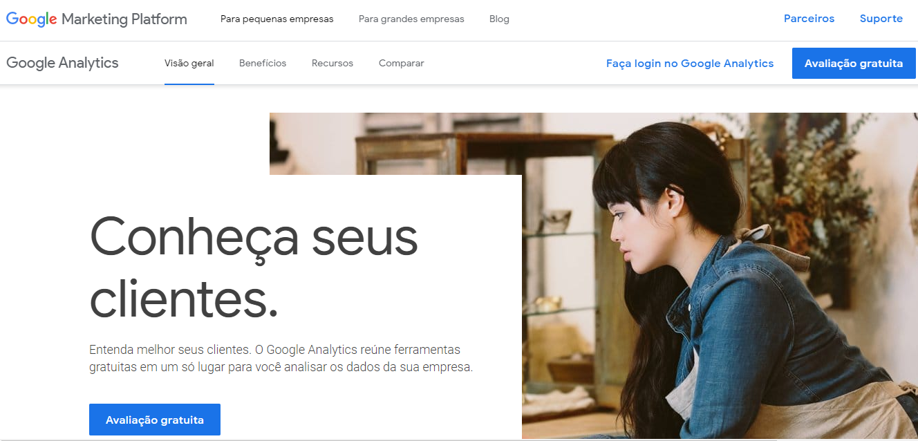google analytics - página inicial
