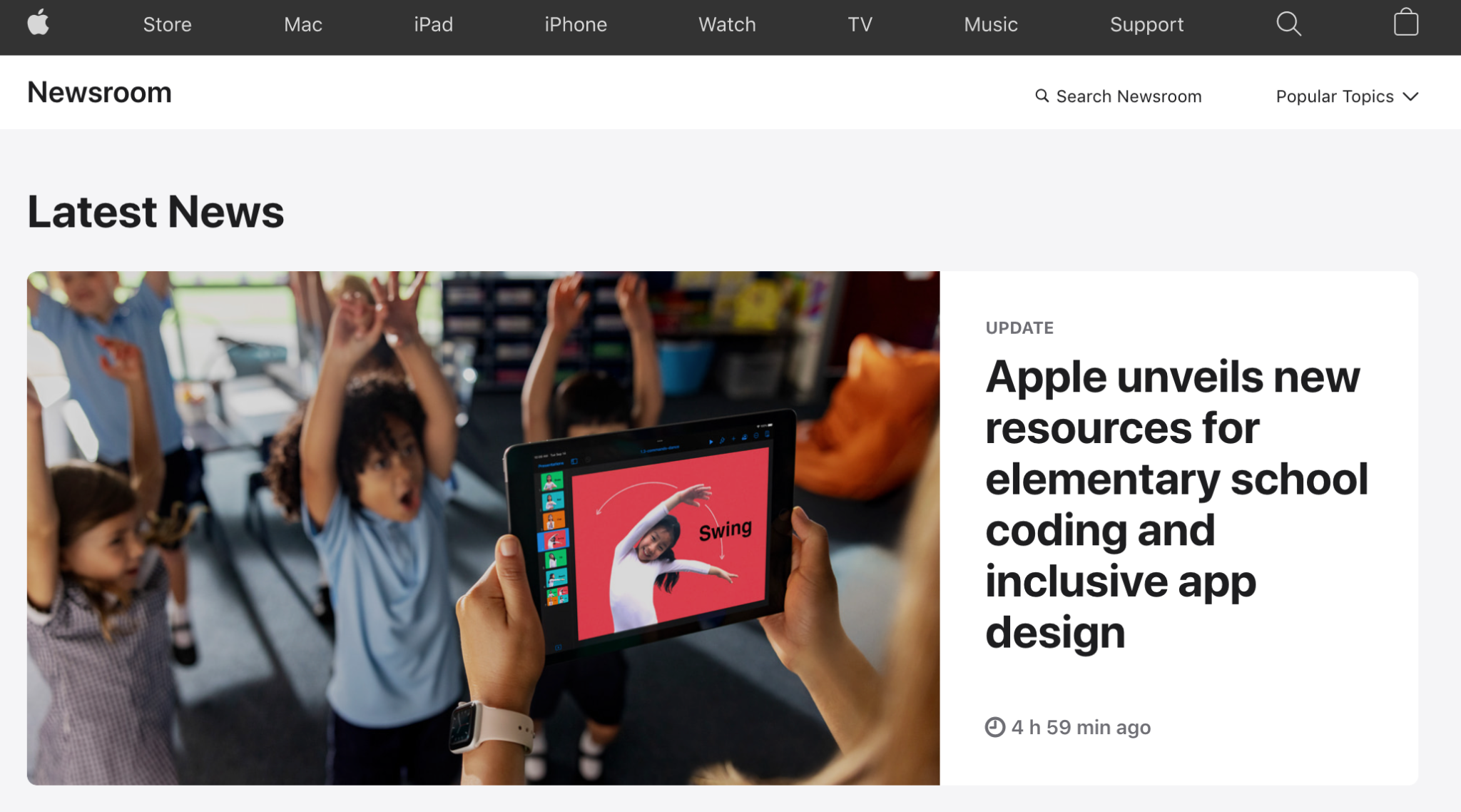 Press Page Example: Apple