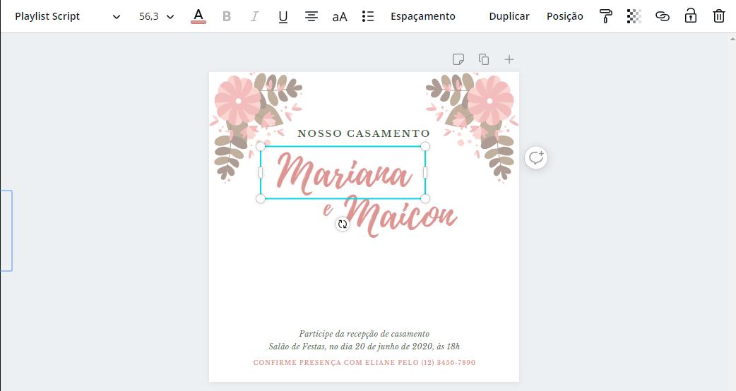 Editar Fontes Convite de Casamento