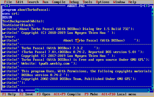 code screen of Turbo Pascal 7.0