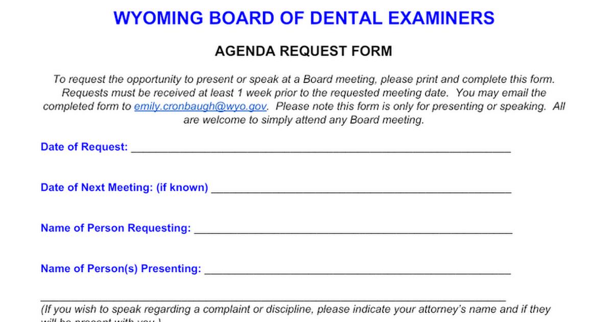 Agenda Request Form Google Docs – Request Form