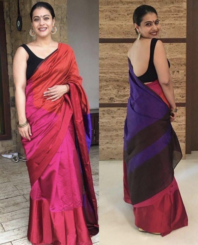 Kajol Devgan Backless Saree blouse Navel Queens