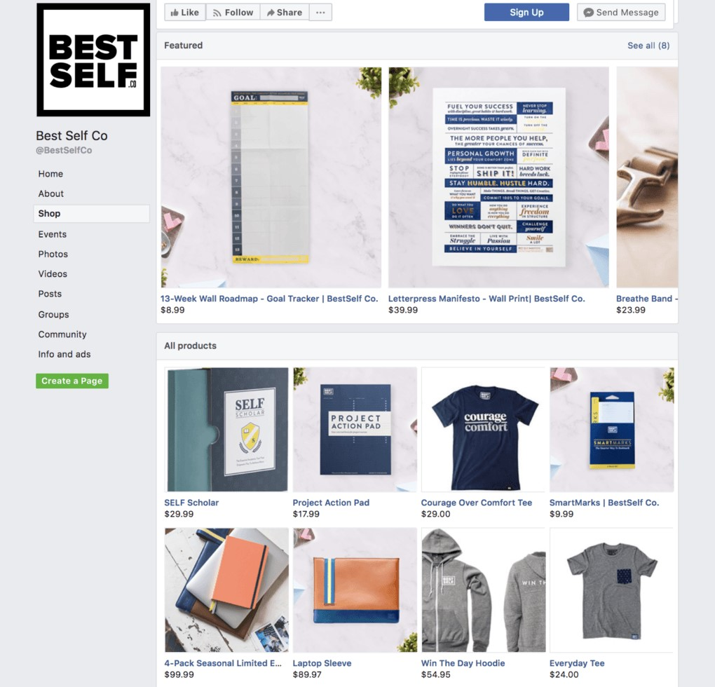 People can easily find Facebook Shops channel on a business's Facebook Page