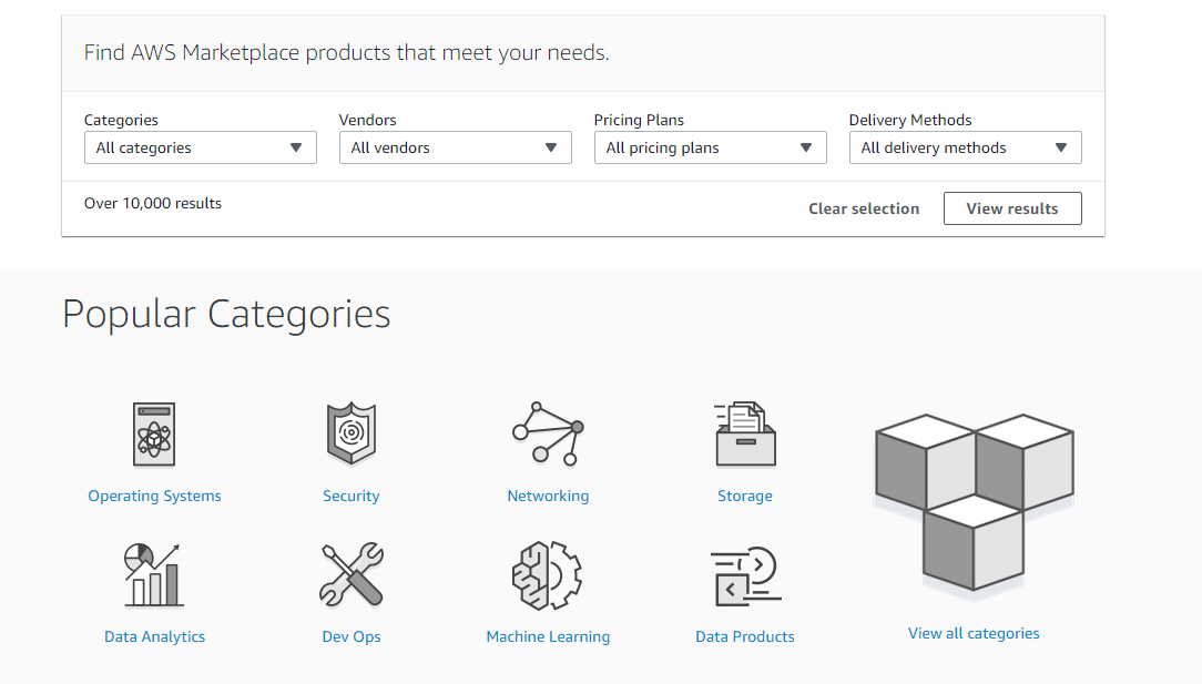 AWS Marketplace PRODUCTS