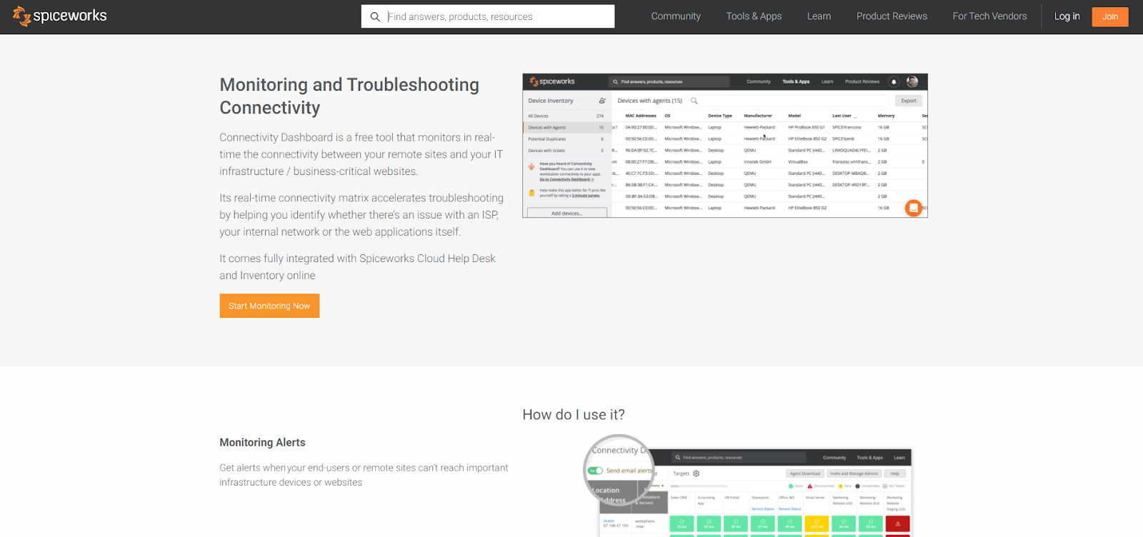 Spiceworks Network Monitoring Tool