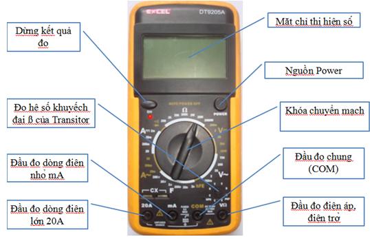 Cấu tạo mặt đồng hồ vạn năng hiển thị số EXCEL-DT9205A
