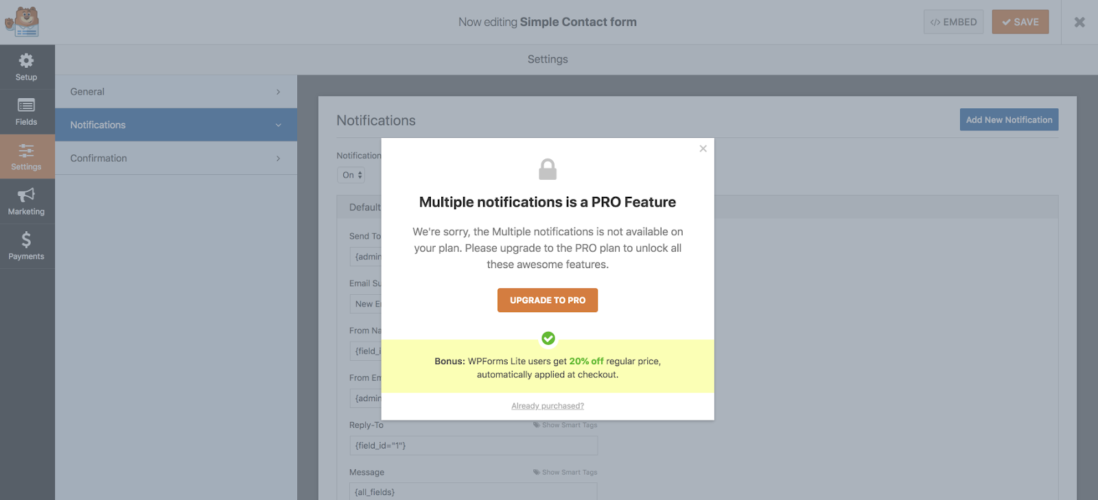 WP Forms pro feature locked.