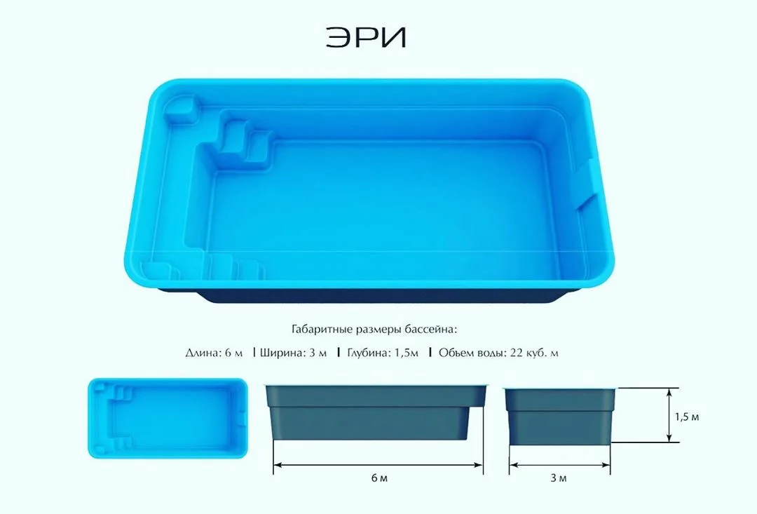 Пример параметров акриловых бассейнов: