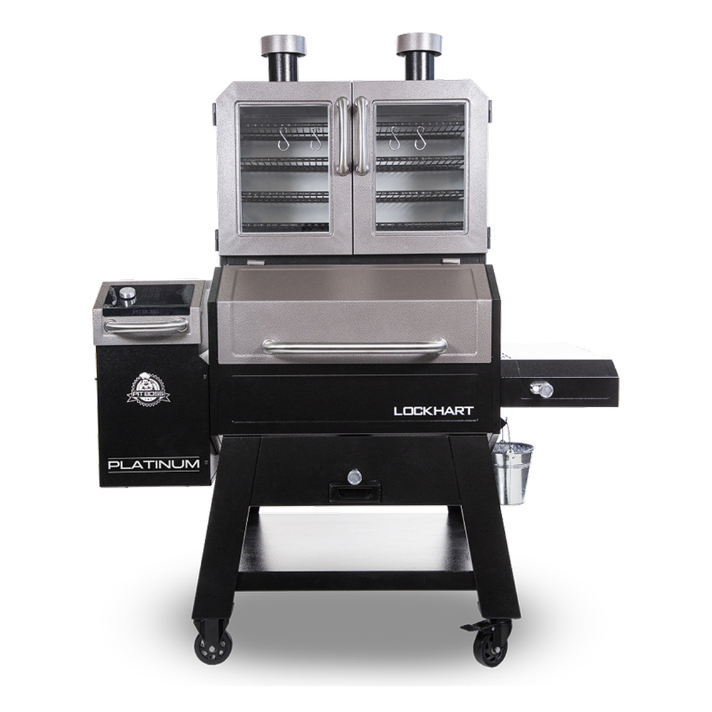 Image of a Pit Boss Platinum Lockhart pellet grill with stainless steel double door.