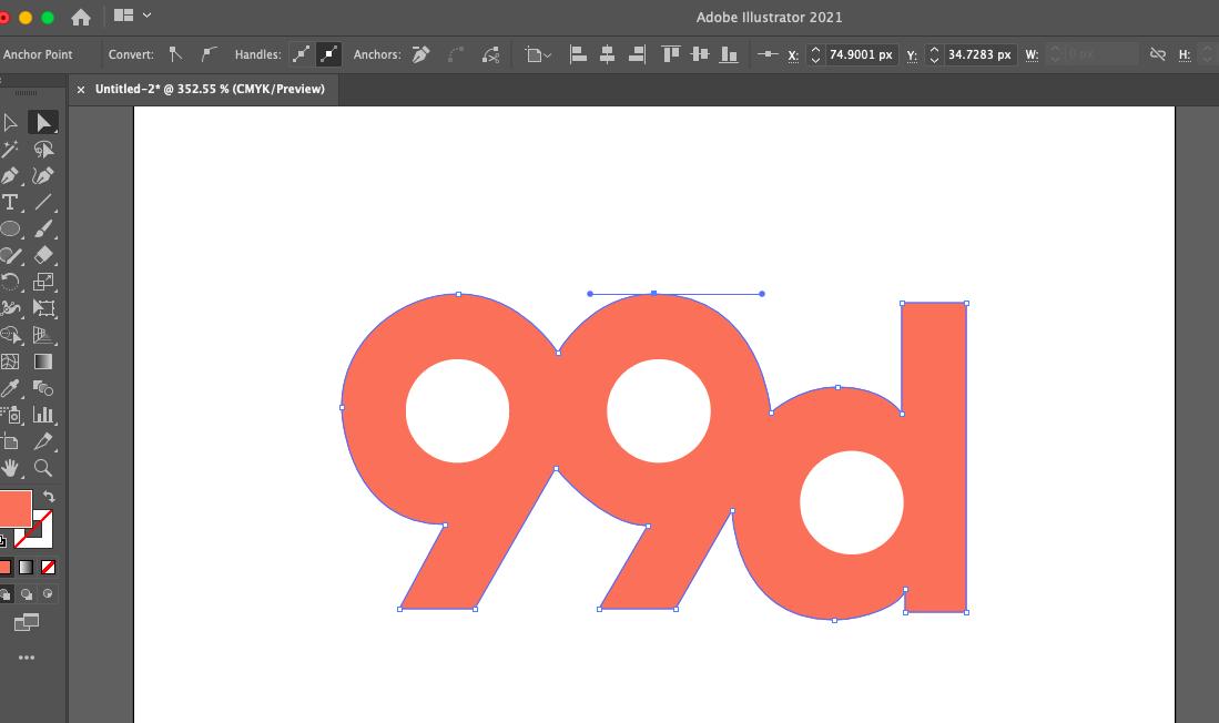 Capture d'écran de l'interface d'Adobe Illustrator montrant les poignées de Bézier