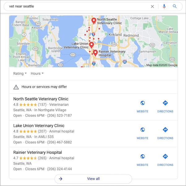 Gói 3 Google địa phương hiển thị trong kết quả tìm kiếm trên máy tính để bàn và trong ứng dụng dành cho các tìm kiếm địa phương.