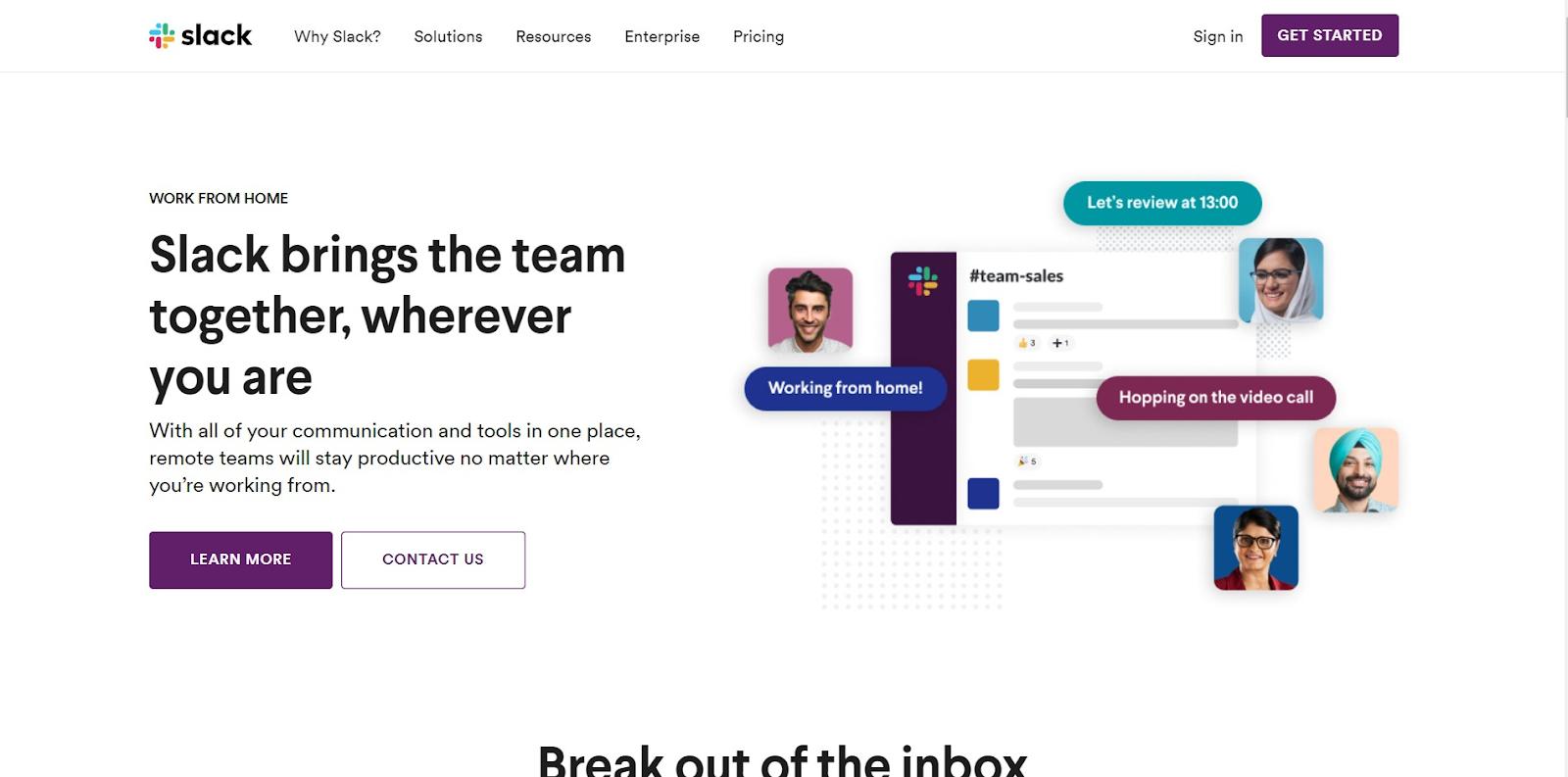 Slack homepage view
