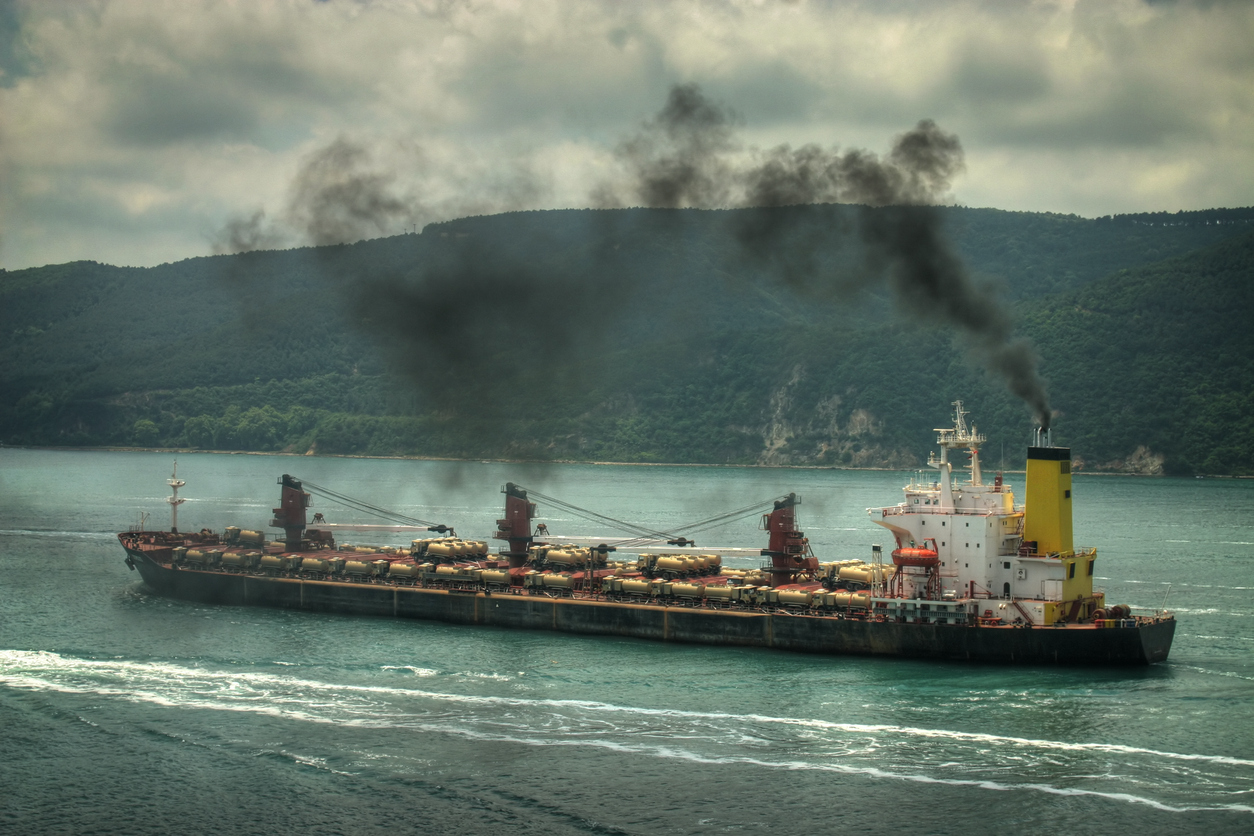 Tanker ship on sea - Scrubber Systems / Exhaust Gas Cleaning Systems