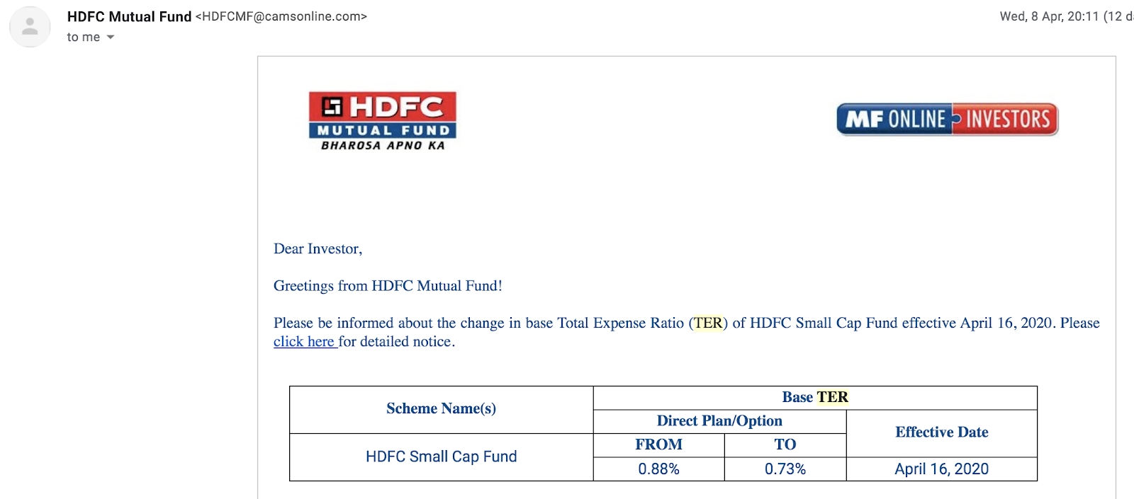 HDFC Mutual Fund announcement of change in TER on Small Cap Fund