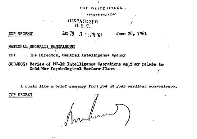 Bản ghi nhớ An ninh Quốc gia Tối mật từ Tổng thống Kennedy và MJ-12