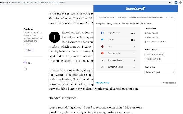 BuzzSumo Free Extension tool for check website engagement.