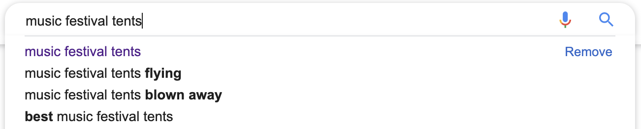 example of customer pain points in Google autocomplete