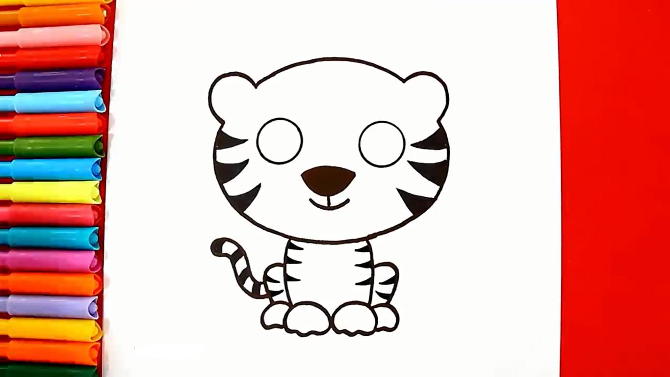 como dibujar un tigre kawaii paso a paso