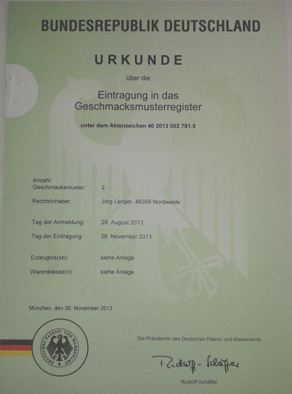 Urkunde Patentanmeldung
