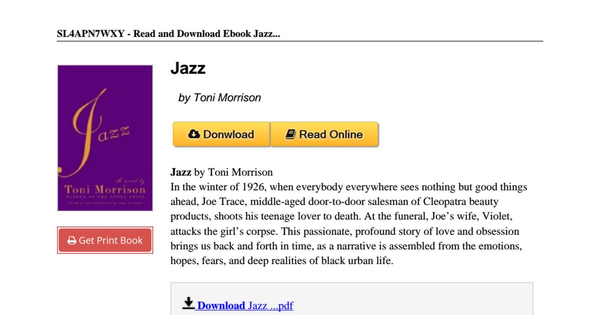 Jazz toni morrison pdf