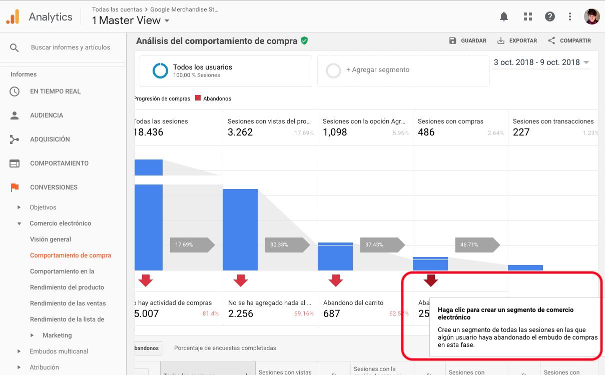 Cómo crear un segmento de conversión - Ecommerce Mejorado Google Analytics