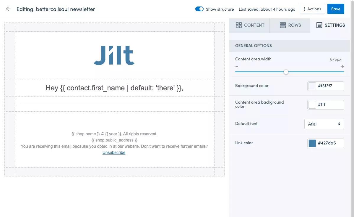 Jilt's content editor