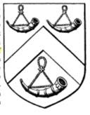 able, a chevron between three bugle horns argent, stringed and mounted or.
