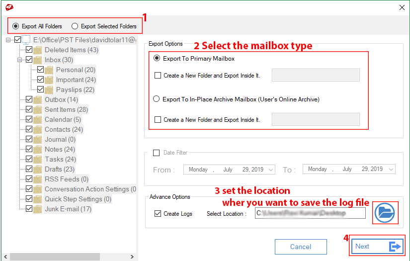 Import PST to Office 365 Archive Mailbox with MailsDaddy software
