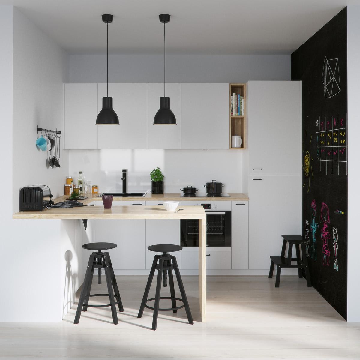 Desain Interior Dapur Skandinavia Bertema Monokrom – source: pinterest.com