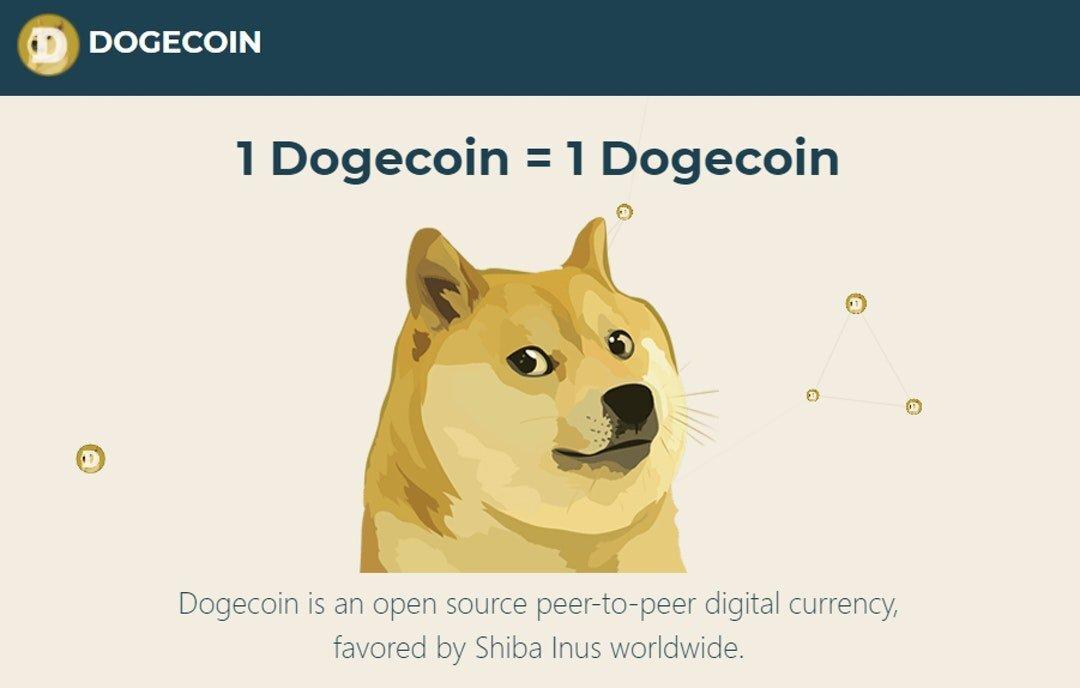 """Trang web chính thức của Dogecoin vẫn cho biết """"1 Dogecoin = 1 Dogecoin"""""""