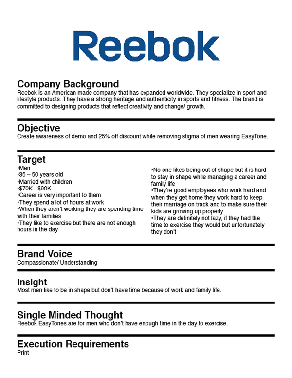 heres a creative brief for reebok shoes