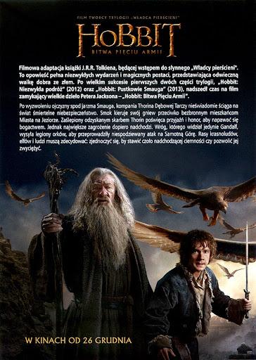 Tył ulotki filmu 'Hobbit: Bitwa Pięciu Armii'