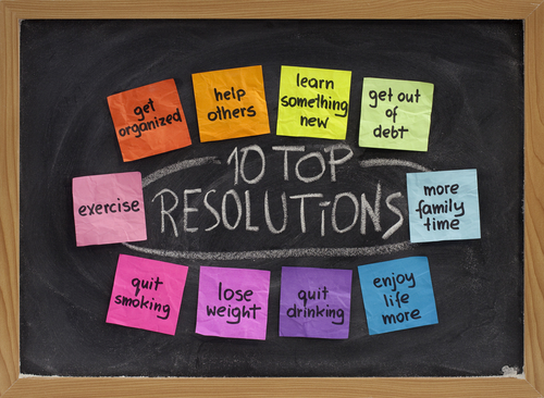 a chalkboard filled with sticky notes surrounding text that reads10 top resolutions
