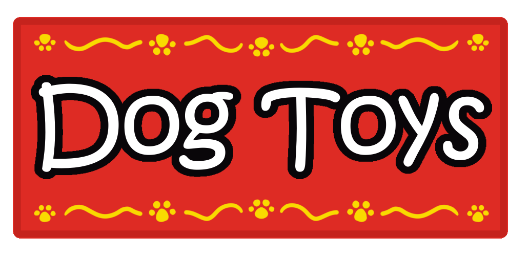 Red Rectangle Dog Toys Sticker Label with Yellow Border