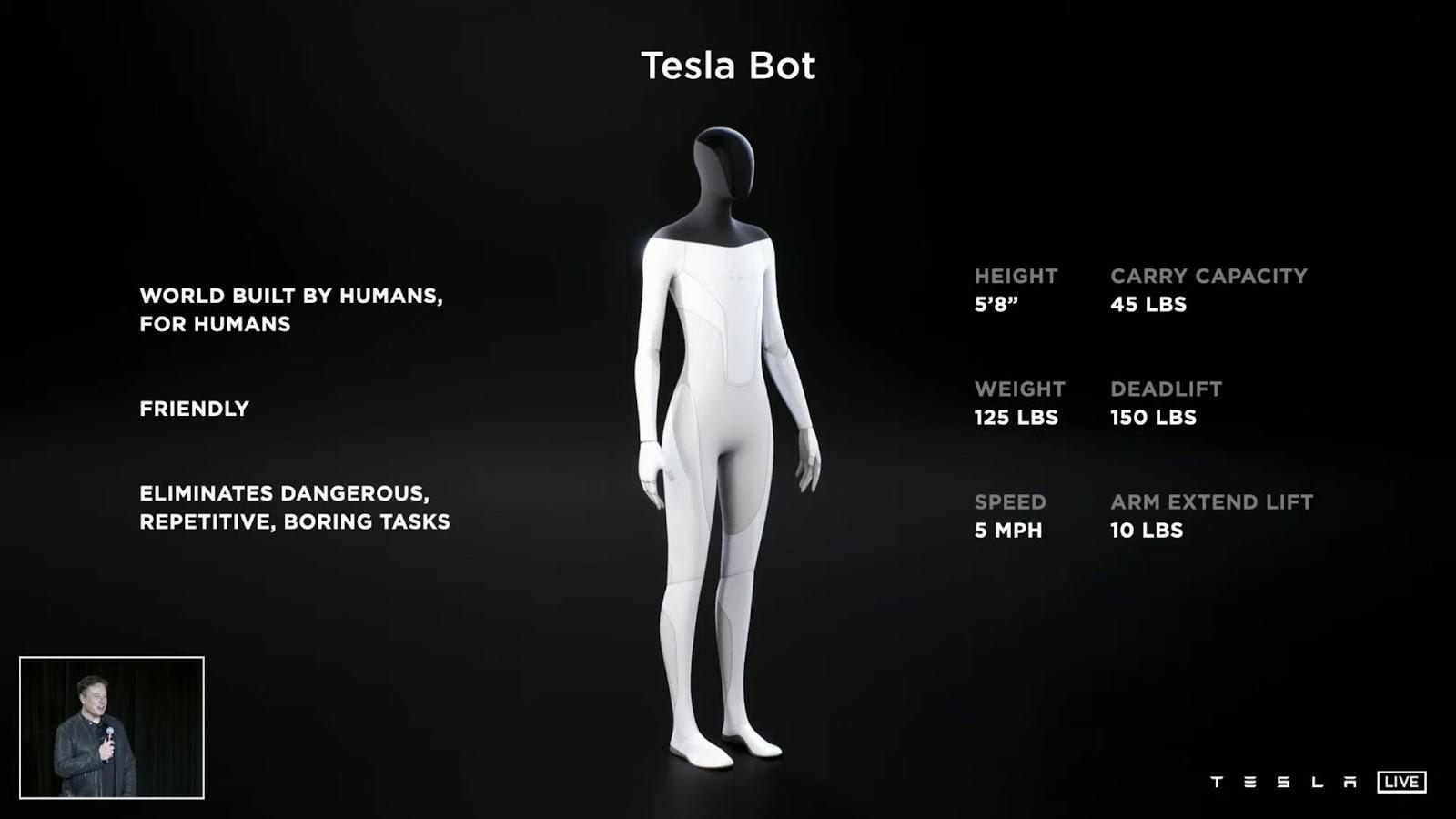 Características del robot humanoide de Tesla