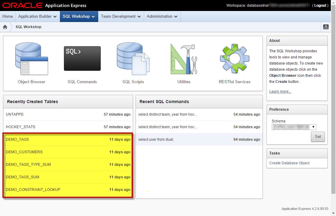 Oracle Database Schema Service