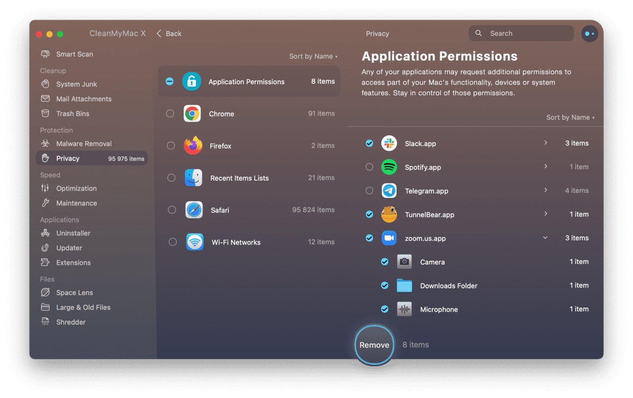 Control app permissions using CleanMyMac X