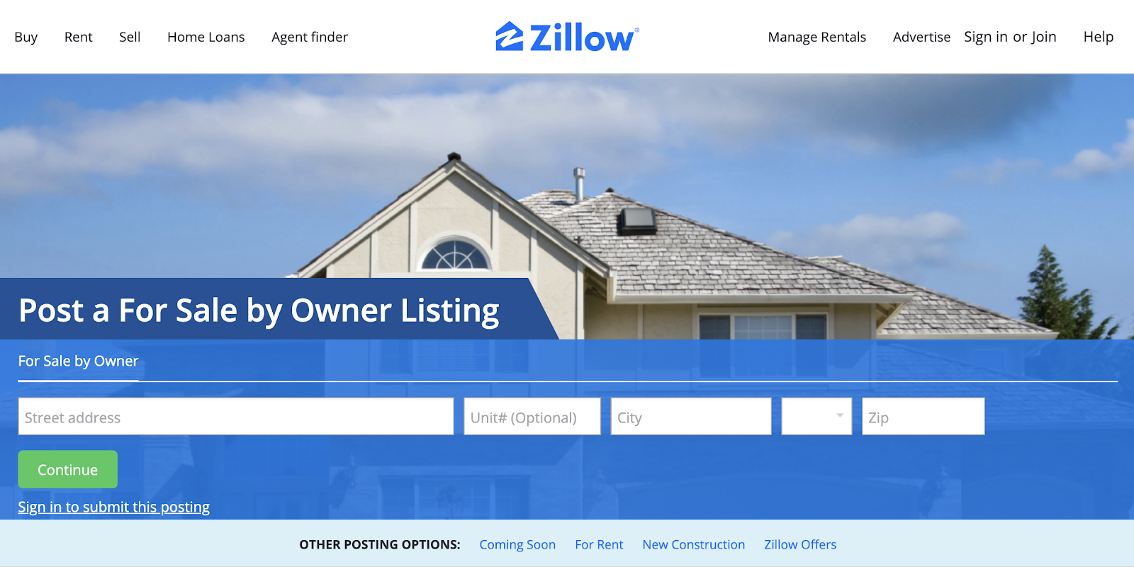 Post a FSBO Listing on Zillow