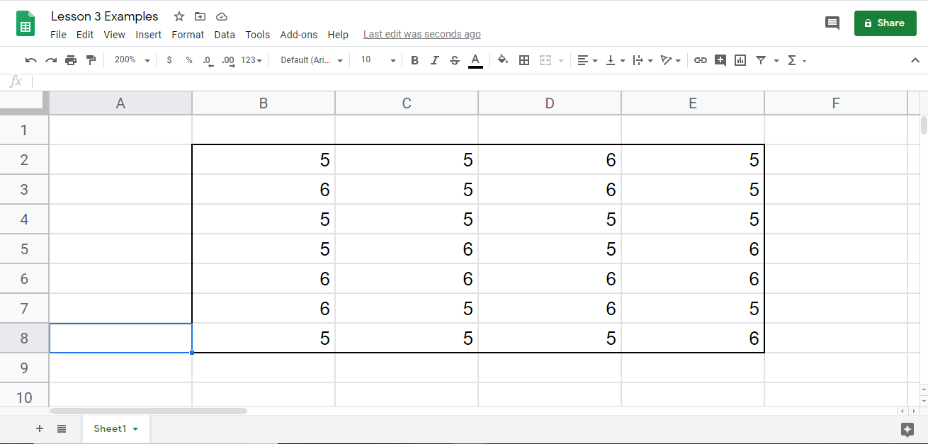 Shows the template of what we want to color code and apply conditional formatting to.