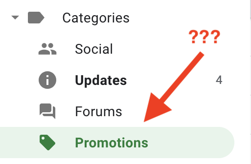 Email marketing promotions tab