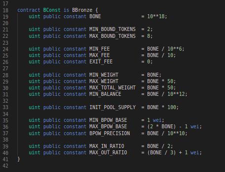 Balancer Codeblock: BConst contract