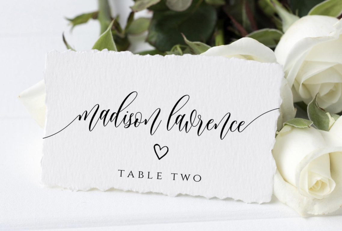 calligraphy seating cards