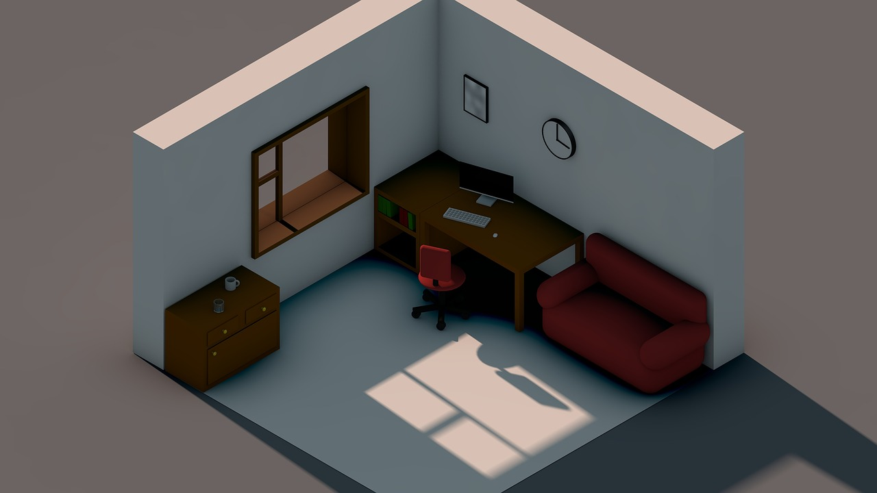 A 3D design of a corner of a room with a desk and couch created in isometric compositions.