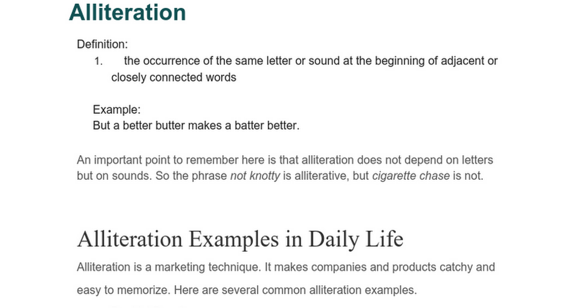 Alliteration Google Docs