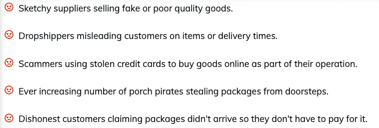 list of areas that people scam dropshipping