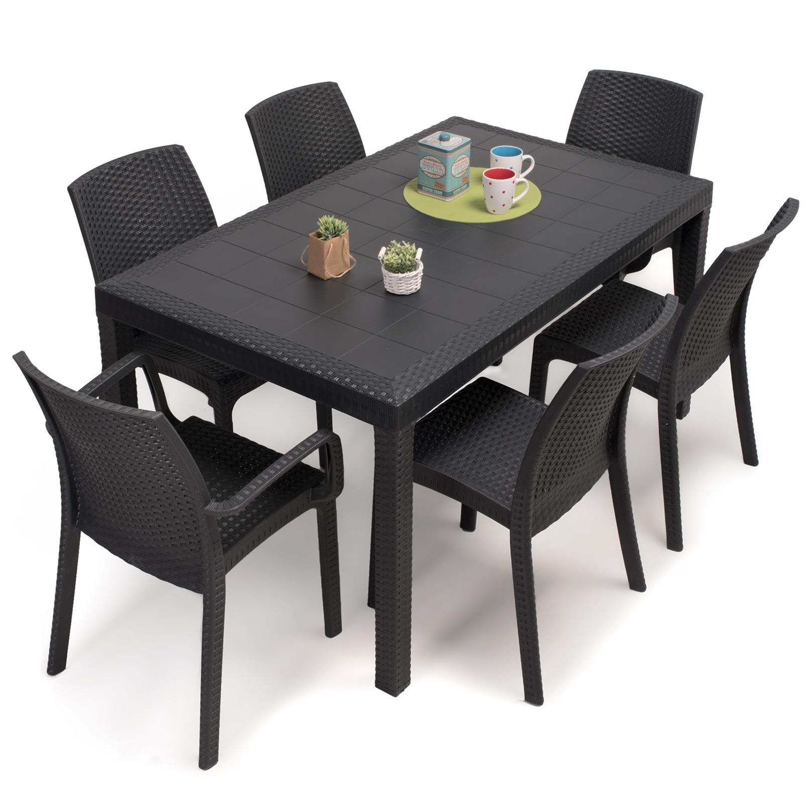 tavolo rettangolare 150x90 6 sedie da esterno giardino