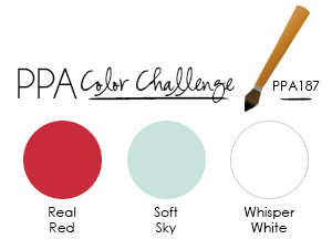 PPA Color Challenge 187:  Real Red, Soft Sky, Whisper White