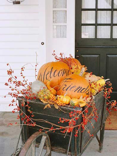 Thanksgiving, wagon, front porch, outdoors, pumpkins, autumn, front entrance