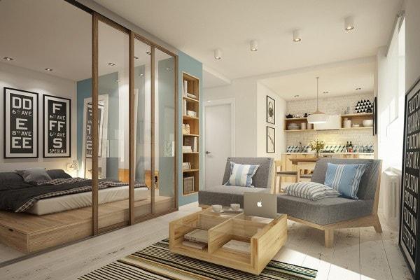 Mẫu vách ngăn phòng khách và phòng ngủ được kết hợp kính