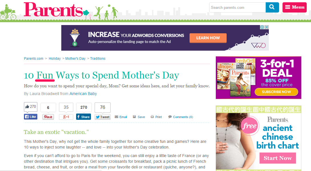 """A screenshot detailing """"10 fun ways to spend mother's day"""" as a headline."""